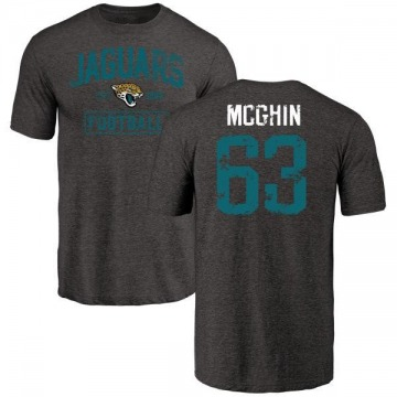 Men's Garrett McGhin Jacksonville Jaguars Black Distressed Name & Number Tri-Blend T-Shirt