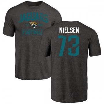 Men's Steven Nielsen Jacksonville Jaguars Black Distressed Name & Number Tri-Blend T-Shirt