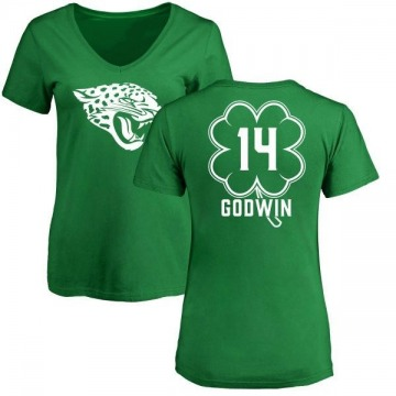 Women's Terry Godwin Jacksonville Jaguars Green St. Patrick's Day Name & Number V-Neck T-Shirt