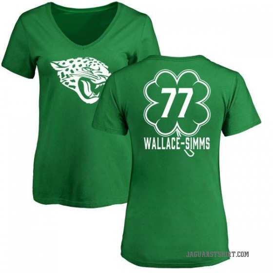 Women's Tre'Vour Wallace-Simms Jacksonville Jaguars Green St. Patrick's Day Name & Number V-Neck T-Shirt