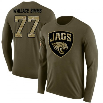 Youth Tre'Vour Wallace-Simms Jacksonville Jaguars Salute to Service Sideline Olive Legend Long Sleeve T-Shirt